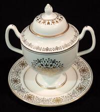 "Coalport BC ""Spanish Lace"" handled sugar bowl w/underplate gold trim England"
