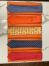 Authentic Hermes French Silk Ties. New In Box. Product Numbers In Desc.