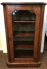 Antique glazed inlaid cabinet with 3 shelves