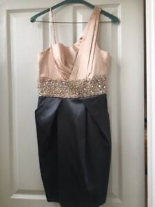 Short semi formal dress with beaded waist; grey skirt, pale pink top, size 7