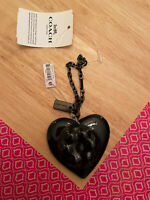 Brand New Authentic Coach X Richard Bernstein Jello Heart Bag Charm - Black