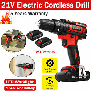 2Speed 21V Cordless Combi impact Electric Drill Screwdriver+Charger 2x Batteries