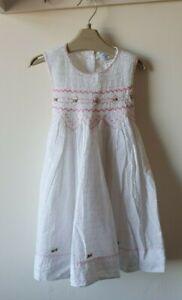 Aurora Royal Smocked Dress Girls White Pink Floral Age 4