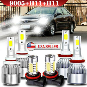 For Toyota Camry 2007 2008 2009-2013 2014 Combo 6×LED Headlight Fog Light Bulbs