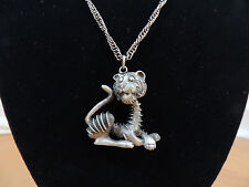 """Pewter 1 1/2"""" Lion Charm 24"""" Metal Chain Necklace"""