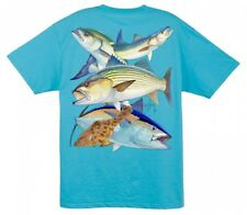 "Guy Harvey   ""NORTH EAST COLLAGE"" Short Sleeve T-Shirt Aqua Blue Size X-LARGE"