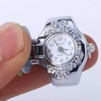 Fshion Women Lady Steel Round Dial Elastic Finger Ring Quartz Watch Girl Gifts n