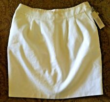 New white skirt S Rebecca Moses pencil mini cotton pocket beige pleat 4 6 $79