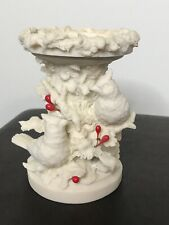 "Snow Cardinal Ceramic 3"" Pillar Candle Holder Holiday Berries 6�. Beautiful"