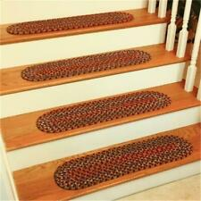 Rhody Rug KA43A008X028-13 Katie Multi Braided Stair Tread Burgundy - Set Of 13