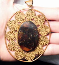 Old vintage retro Pressed Baltic Amber and Copper pendant hand-made jewelry 1568