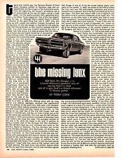 1968 MERCURY COUGAR XR7 428 RAM AIR COBRA-JET ~ ORIGINAL 3-PAGE / ARTICLE / AD