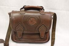 Lp Luigi Parko Brown Leather Crossbody Box Purse W Plaid