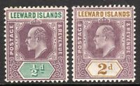 Leeward Islands 1902 purple/green 1/2d purple/ochre 2d crown CA mint SG20/22