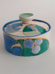 CLARICE CLIFF LOVELY  COVERED POT IN THE 'MELONS' PATTERN CIRCA 1932