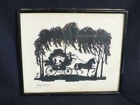 alter Scherenschnitt hinter Glas Paar in Kutsche gelenkt vom Engel Hochzeit 1920