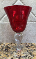 Ruby Red ARTLAND IRIS style Blown Bubble Glass  Wine Goblets Set Of 2 EUC 6.5""