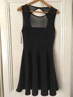 Miss Selfridge Black Skater Dress Open Back Unlined Size 12