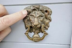 Vintage Small Brass Lion Mask Face Door knocker Nice Detail 1970s Antique Style