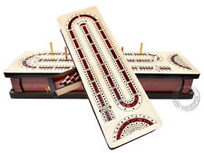 Continuous Cribbage Board Alphabet e Shape inlaid Maple/Bloodwood +Sliding Lid