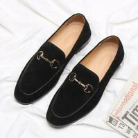 Mens Pointy Toe Casual slip on Loafers Suede Leather Driving Moccasin Shoes flat