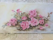 Shabby Chic Pink Roses Oil Hand Painted 12 X 24 Canvas