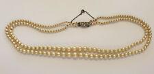 Collier de Perle Ancien 2 Rangs, Fermoir Argent, 40cm