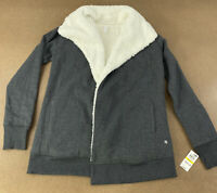 Ideology Women's Medium Charcoal Gray Sherpa Lined Open Front Wrap Jacket NWT