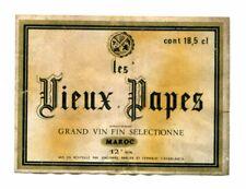 Les Vieux Papes 18.5 cl, Vintage Wine Label, Casablanca, Morocco