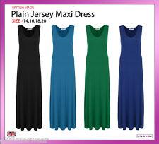 New Ladies Women Plain Soft Jersey Maxi Dress Plus Sizes 14-20