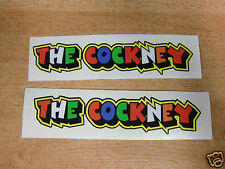 """Valentino Rossi style text - """"THE COCKNEY""""  x2 stickers / decals  - 5in x 1in"""