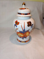 """Gold Imari Urn Ginger Jar Lidded Porcelain Japanese Hand Painted 10"""" with lid"""