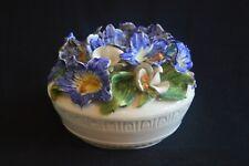 "VTG capodimonte COVERED DISH trinket dish Blue White porcelain flowers 5.8"" x 5"""