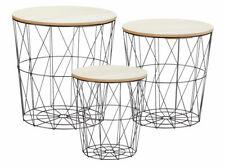 Metall Beistelltisch mit Stauraum - 3er Set - Sofatisch Wohnzimmer Tisch schwarz