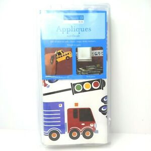 Kids 40 vinyl reusable wall stickers fire trucks cars school buses helicopters