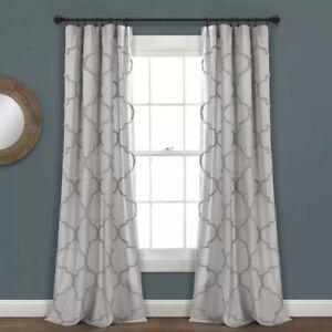 "Lush Decor 84""x40"" Chenille Trellis Window Curtain Panel Pair - Light Gray"