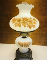 """Vintage 3 Way White Milk Glass & Brass Hurricane Lamp With Floral Pattern 18.5"""""""