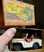 "CRAGSTAN BAZOOKA JEEP TIN TOY JAPAN 1950'S 4.5"" BOX INCLUDED ARMY STAR VINTAGE"