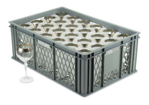 Glassware Storage Crates   24 Cells for Tumblers, Wine Glasses, Champagne Flutes