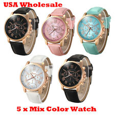 5 x Assorted Women Geneva Numerals Leather Analog Wrist Watch - Wholesale Lot