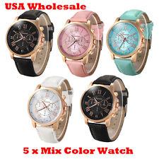 5 x Assorted Women Geneva Numerals Leather Analog Wrist Watch - Wholesale Lot