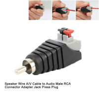 Speaker Wire A / V Cable to Audio Male RCA Connector Adapter Jack Press Plug Hot