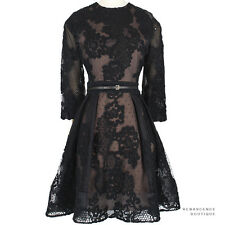 Elie Saab Luxurious Black Silk-Blend Lace Overlay Banded Waist Dress FR40 UK12