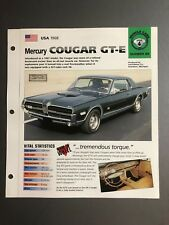 "1968 Mercury Cougar GT-E Coupe IMP ""Hot Cars"" Spec Sheet Folder Brochure Awesome"