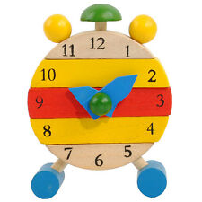 Baby kids blocks early learning building educational wooden clock toy time clock