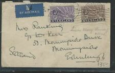 NYASALAND (P2903B) KGV 6D+1D CAT LEOPARD ON A/M COVER TO ENGLAND