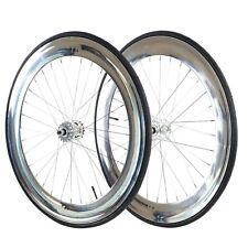 Fixie 700c Deep 70 mmFixed  Front & Rear Wheels set w Tire Tube chrome