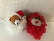 Loofah Ball Sponge Exfoliating Body Scrubber Holiday Christmas Reindeer Bear