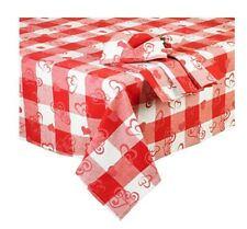 Valentine's Day Rectangle Tablecloth 52 x 70 Red White Hearts Metallic Threads