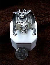 Large flying bat with Gothic skull, Sterling silver, Biker ring,